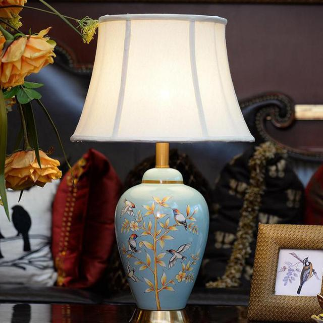 Modern Chinese Hand Painted Ceramic E27 LED bedside lamps for bedroom Living Room Deco Night Lamp Wedding Decorative Lamp 1116
