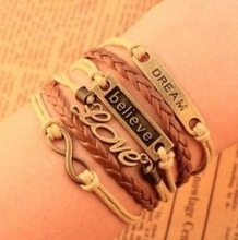 2014 Multilayer Braided Bracelets , Vintage word love ,dream,believe  infinity bracelet,  woven leather bracelet & Bangle