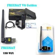 [Genuine] Freesat V8 Golden DVB-S2+T2+C Satellite TV Combo Receiver Support PowerVu Biss Key Cccamd Newcamd n USB Wifi(Optional)