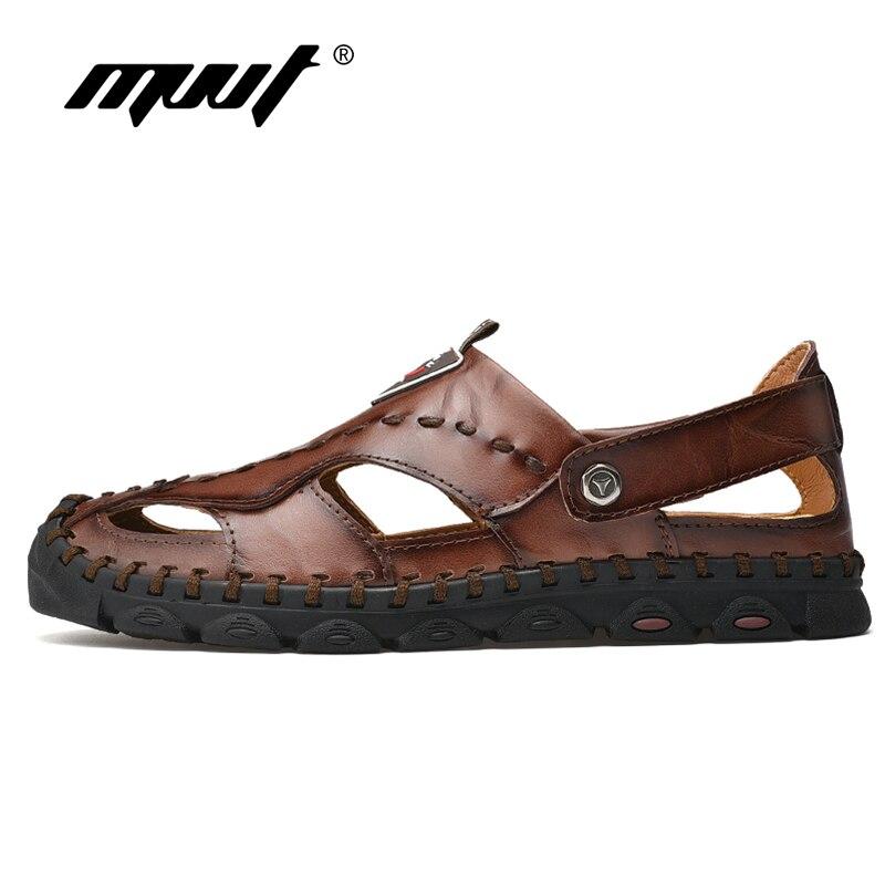 Image 2 - 2019 Fashion Genuine Leather Men Sandals Summer Shoes Lightweight Comfort Men Beach Sandals Leather Men Shoes Plus Size-in Men's Sandals from Shoes