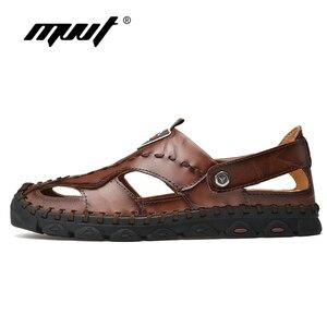 Image 2 - 2020 חדש אופנה אמיתי עור גברים סנדלי קיץ נעלי נוחות קלה גברים חוף סנדלי עור גברים נעליים בתוספת גודל