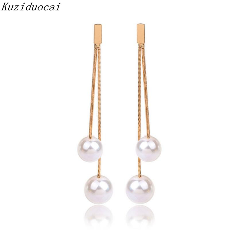 2017 New Hot ! Fashion Fine Jewelry Keep Color Metal Pearl Gold Color Tassel Elegant Stud Earrings For Women Ladies Gifts E-175