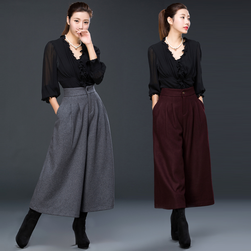 Retro Woolen Tweed Pants In Autumn And Winter 2019 New High Waist, Large Size And Wide Legs Pants To Keep Warm In Winter
