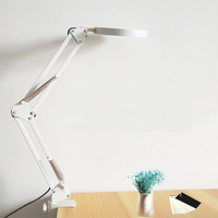 LED 5X Magnifying Table Desk Lamp Stepless Dimming Swing Arm Beauty Skincare Manicure Nail Tattoo Salon jewelers repair Read
