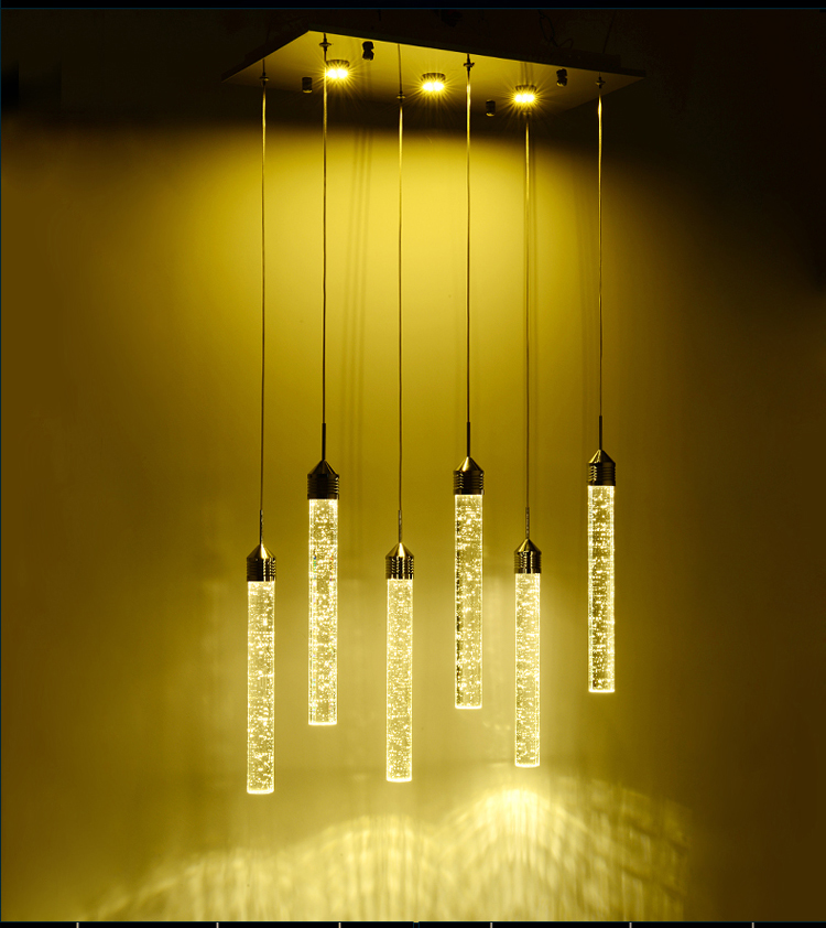 Creative personality AC 110-240V LED Bubble Crystal Column Elegant Pendant Lamp Light Lighting Droplight Fixture Lamparas zg9046 pendant light ac 110 240v