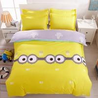 2017 Nuevo estilo de Big eyes Minions Cartoon juegos de cama Funda Nórdica conjunto de funda de almohada hoja falt 3/4 unids Rey Reina tamaño Completo Twin