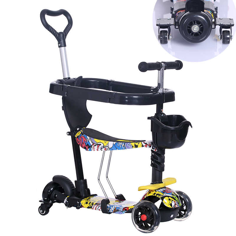Anak Bayi Skuter Anak 5in1 Pu 3 Roda Berkedip Ayunan Mobil Mengangkat 2-15 Tahun Kereta Dorong Naik Sepeda kendaraan Mainan Luar Ruangan