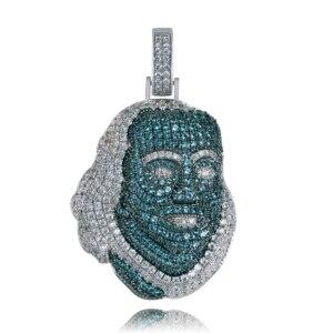 Image 1 - TOPGRILLZ ICEDOUT Blueface Colgante de pieza de Benjamín con cadena de tenis, joyería ostentosa de Hip Hop, cultura urbana
