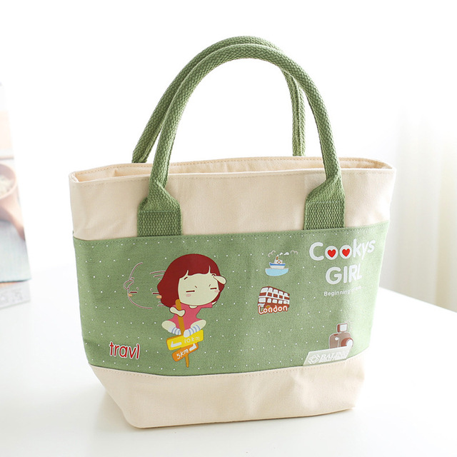 Portable Cartoon Cute S Lunch Bag Insulated Canvas Food Picnic Thermal Bags Totes For Kids