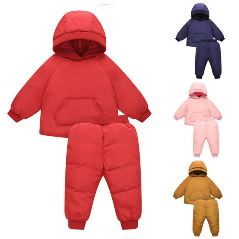2018 New Winter Children's Set Fashion Hooded Girls Clothes Down Jacke + Pants 2 Piece Baby Boys Children Clothing Set winter down top jacke