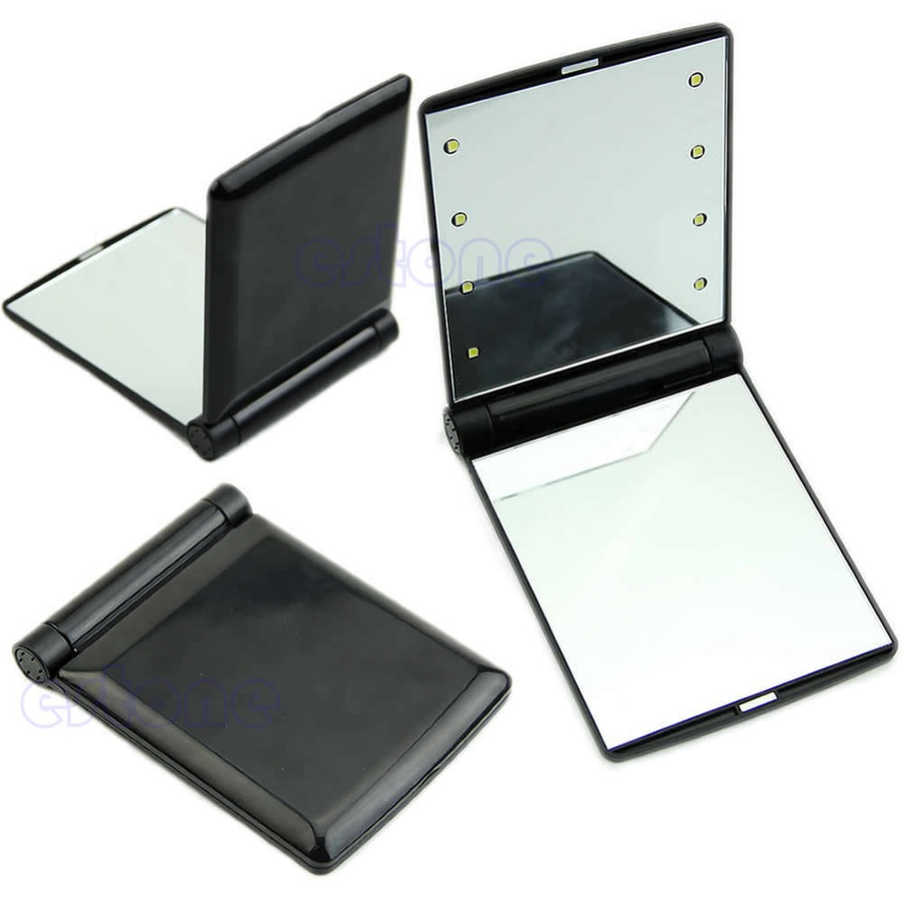 Hell Beweglicher Verfassungs-kosmetischer Falten Kompakten Spiegel Mit 8 Led-leuchten Lampen 32000 Aromatischer Geschmack Spiegel