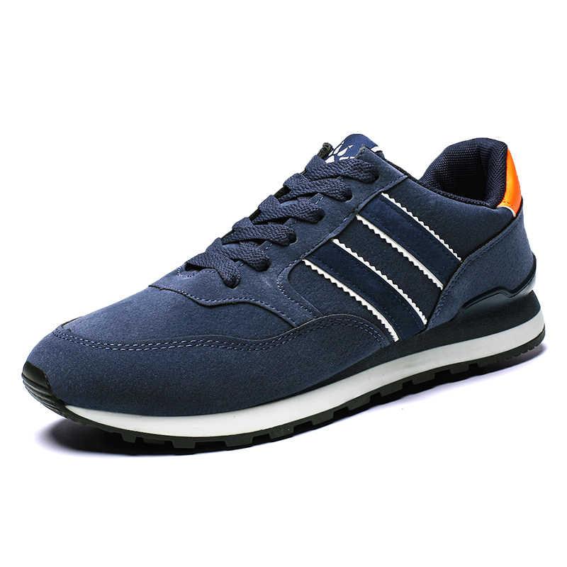 ของแท้หนังรองเท้าผ้าใบ Breathable รองเท้าสบายๆลื่นกลางแจ้งเดินรองเท้าน้ำหนัก lace- up