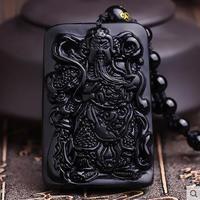 Natural Black Yao Stone Clearance Public Pendant Fortuna Wu Carved Arrogance Man Necklace Close Master Black