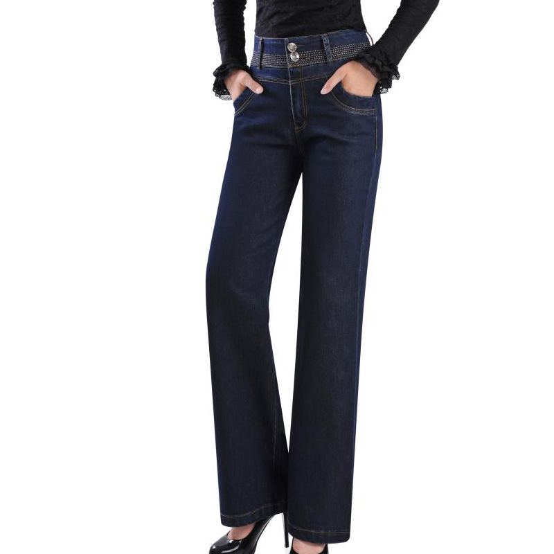 ФОТО Plus Size Women Boot Cut Jeans Female High Waist Wide Leg Pants Promotion Ladys Flares Bell-bottom Trousers 27-38