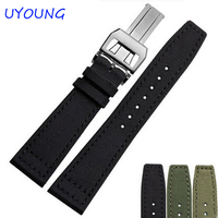 20mm 21mm 22mm Canvas Nylon Genuine Leather Watch Band Black Army Green Watch Accessories Strap