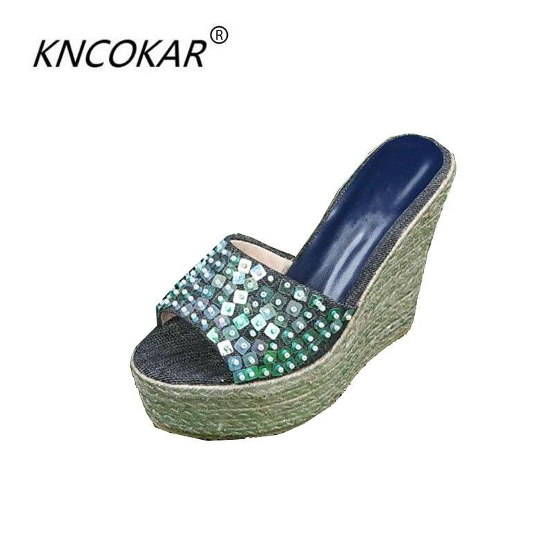 KNCOKAR2018 station Européenne femmes de chaussures d'été sandales et fond épais version Coréenne de la plate-forme pantoufles denim chaussures
