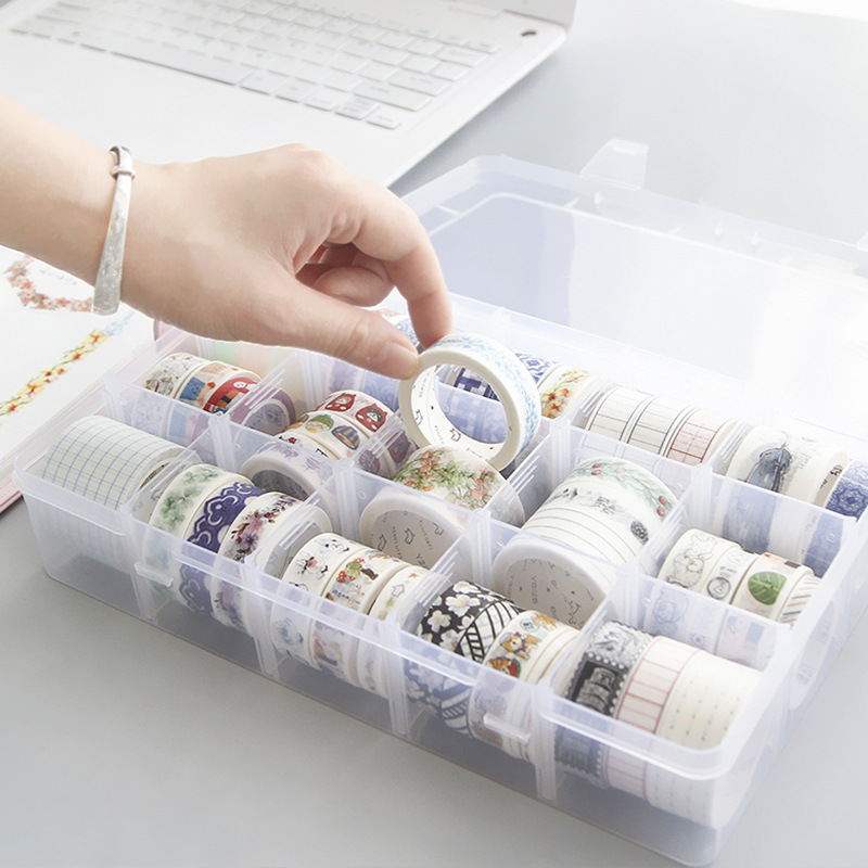 PHANTACi 15 Grids Plastic Multifunction Washi Tape Storage Box Scrapbook DIY Learning School Office Articles Gifts Stationery