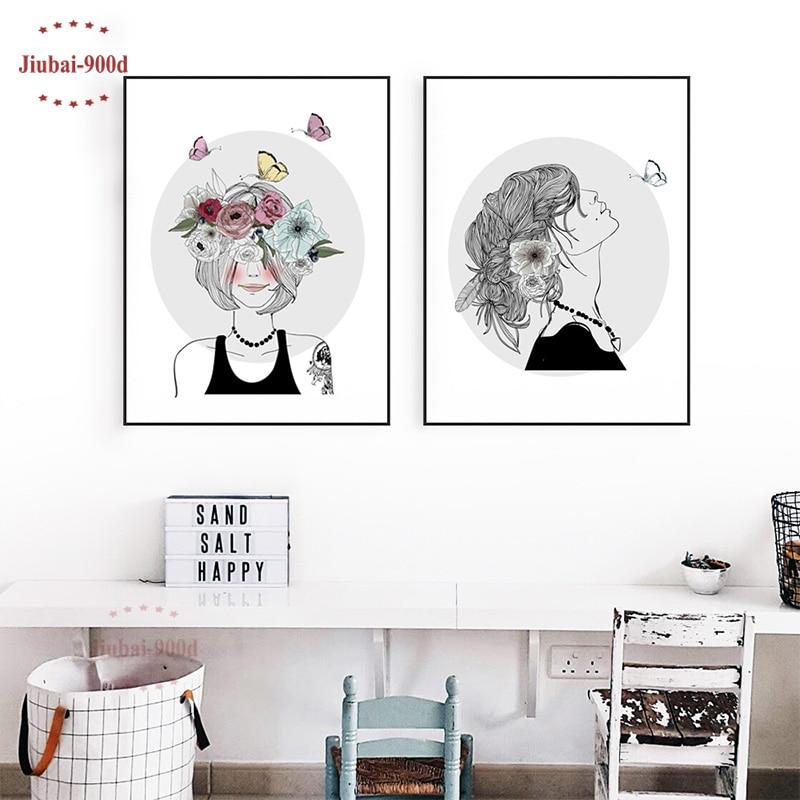 900D Canvas Art Print Նկարչական պաստառ, աղջիկ ծաղիկներով պատի նկարներ տան զարդարման համար, պատի դեկոր CM033