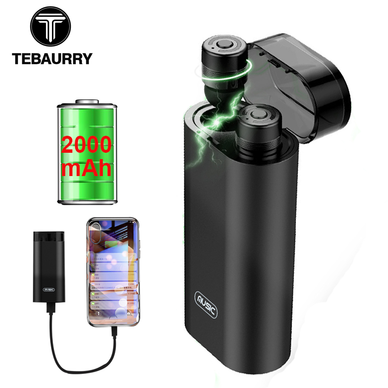 TEBAURRY M20 TWS Invisible auricular Bluetooth inalámbrico Mini auricular Bluetooth para el teléfono con 2000 mAh cargador de