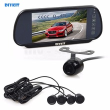 DIYKIT Video Parking Radar four Sensors + 7 inch Construct-in LCD Show Mirror Automobile Monitor + Rear View Automobile Digicam