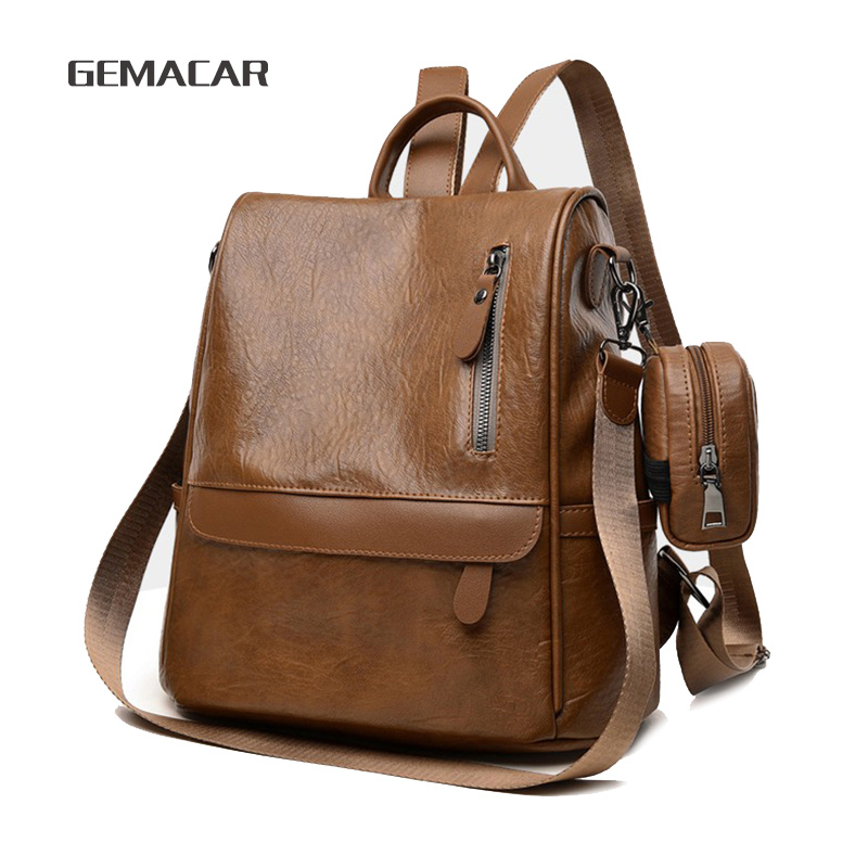 Minimalist Female Backpack Pu Leather Waterproof Rucksack With Small Purse Black Brown Large Capacity Bags