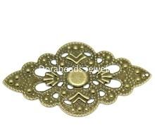 Doreen Box Lovely 50PCs Antique Bronze Filigree Wraps Connectors Pendants Embellishments Findings 5.2x3cm (B18676)