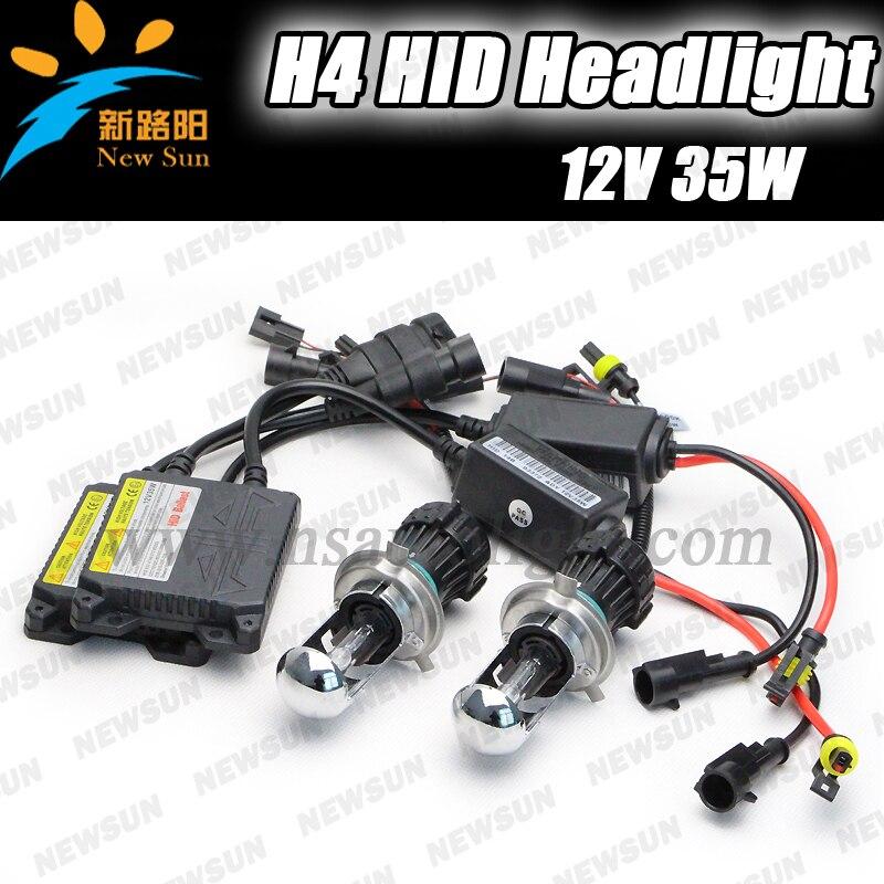 H4 HID XENON Bulb Car Headlight Hi/ Low Beam Auto Lamp H4 slim hid xenon kit  12V 35W xenon hid kit hot sale high quality auto xenon hid conversion kit 12v 35w h4 hi low dual beam 10000k freeshipping