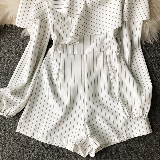 Ruffle Short Women Jumpsuit Striped White Long Sleeve Off Shoulder Black Boho Red Pink Summer Sexy Beach Rompers Women Jumpsuit 5