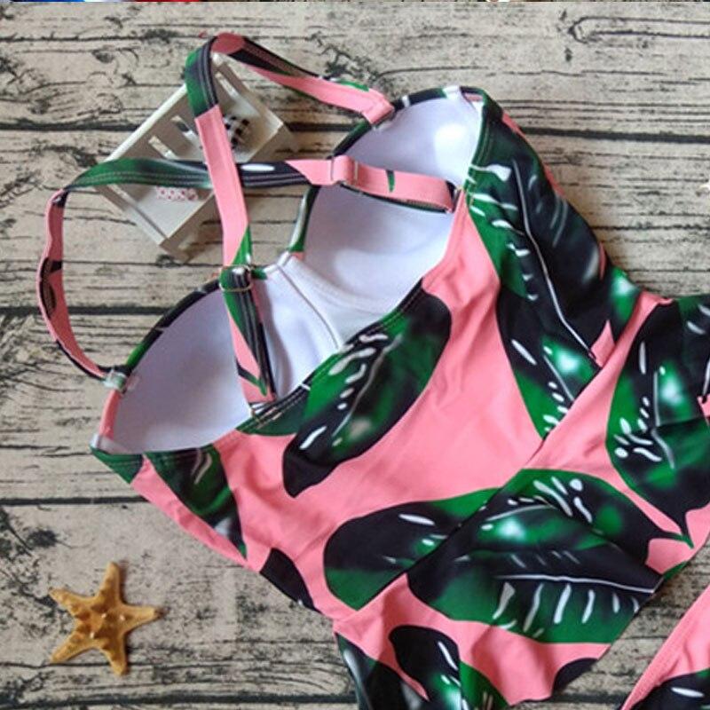 6beea93ed6 2017 New Flounced Print Green Leaf Two Piece Swimsuit Women Push Up  Swimwear Women Cross Back Bikini Conservative Bathing Suit-in Bikinis Set  from Sports ...