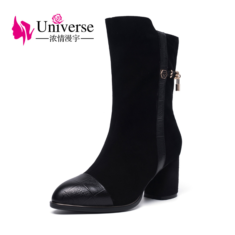 Universe 2017 boots ladies high heel mid calf boots warm winter boots with short plush lining G399 double buckle cross straps mid calf boots