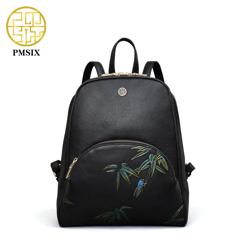 PMSIX 2017 New Bamboo Embossed Genuine Leather Backpack Luxury Designer Small Backpack Casual <font><b>Real</b></font> Leather Women Bag 910005