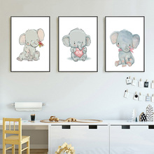 Baby Nursery Wall Art Elephant Canvas Painting Animal Poster Print Nordic Kids Decorative Picture Children Bedroom Decoration цена