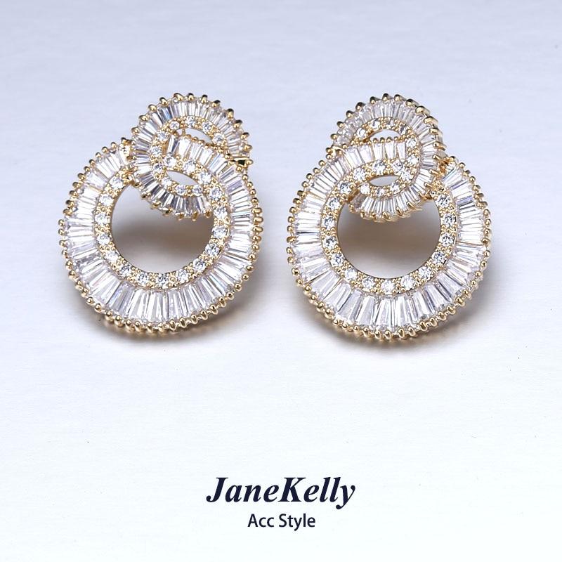 Famous top zircon earrings for women/girl, flower design luxury micro pave Cubic Zirconia stud earrings fashion jewelry pair of stylish double end faux zircon rhombus flower stud earrings for women