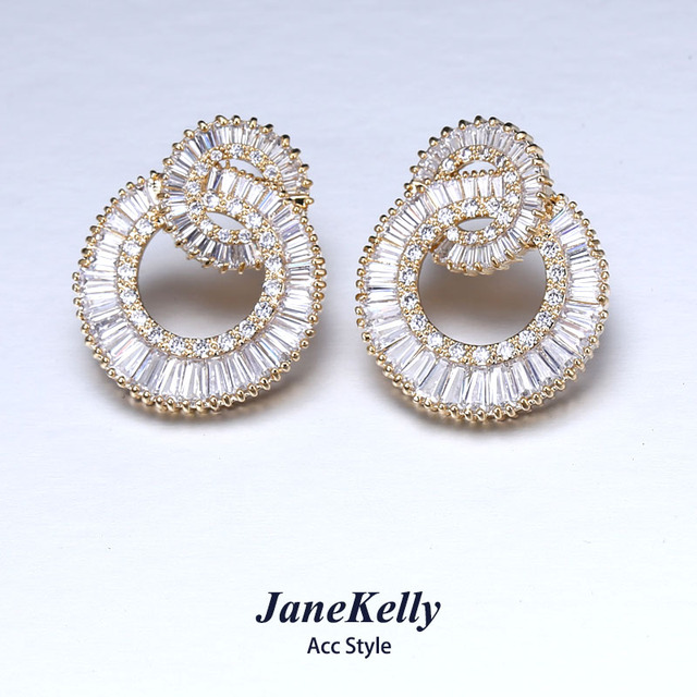 Famous Top Zircon Earrings For Women Flower Design Luxury Micro Pave Cubic Zirconia