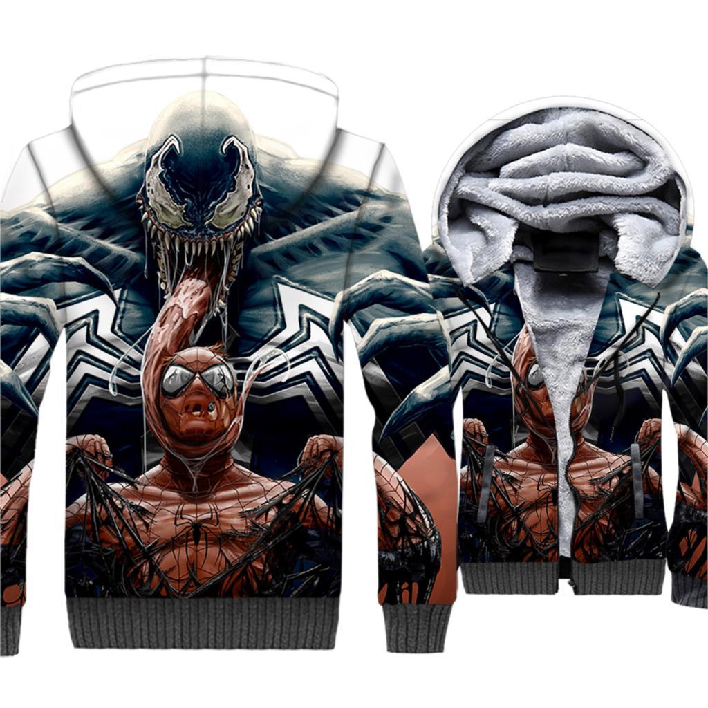2019 wool liner Superhero jackets coats Spiderman Venom hip-hop tracksuits men fashion hooded clothing 3D print sweatshirt homme