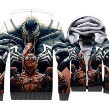 2019 wool liner Superhero jackets coats Spiderman Venom hip-hop tracksuits men fashion hooded clothing 3D print sweatshirt homme casual thick wool liner hip hop jackets men punk fashion coats long sleeve hooded clothes the superhero 3d print sweatshirt 2019