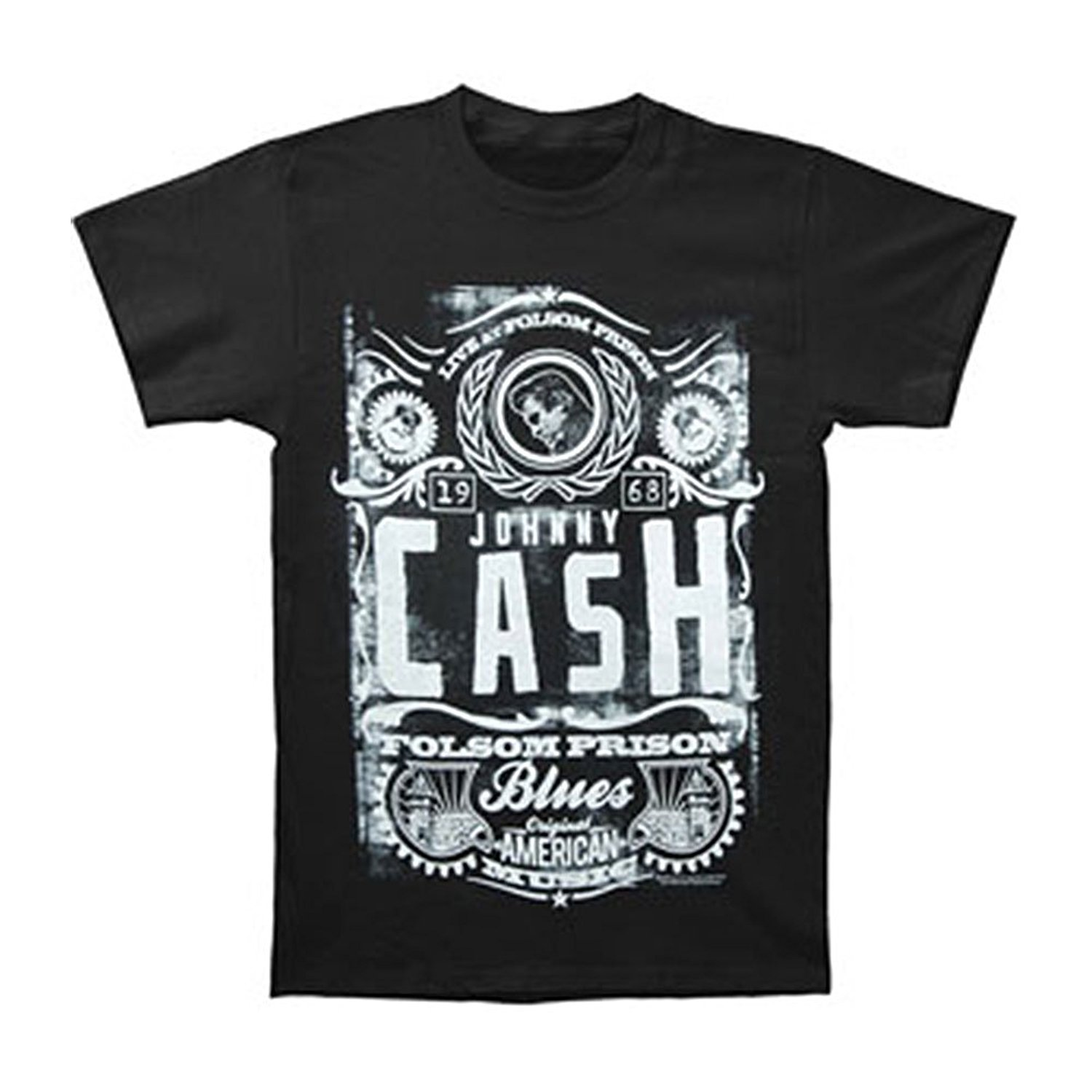 Johnny Cash Mens Live At Folsom 1968 T-shirt Black MenS T-Shirts Summer Style Fashion Swag Men T Shirts Top Tee Plus Size ...