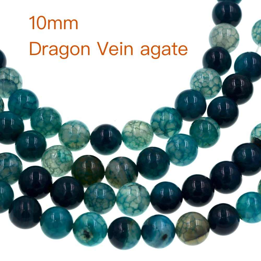 Fashion diy 10mm Green Blue Dragon Vein Agates Beads Full Strand