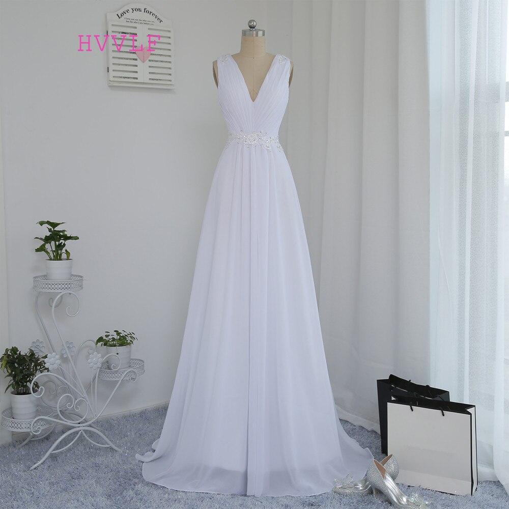 Vestido De Noiva 2019 Beach Wedding Dresses A-line Deep V-neck Appliques  Lace a3e622ba5eed