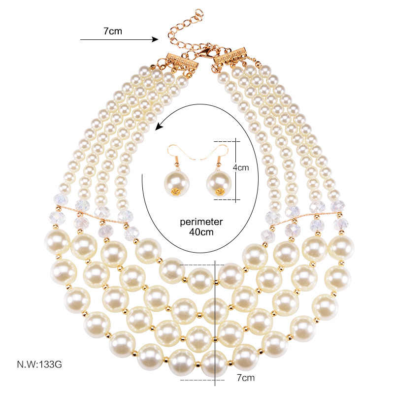 Nigerian Wedding Jewelry Sets Multi layer simulated pearl jewelry Bridal Necklace & Pendant Luxury African Beads Jewelry Sets
