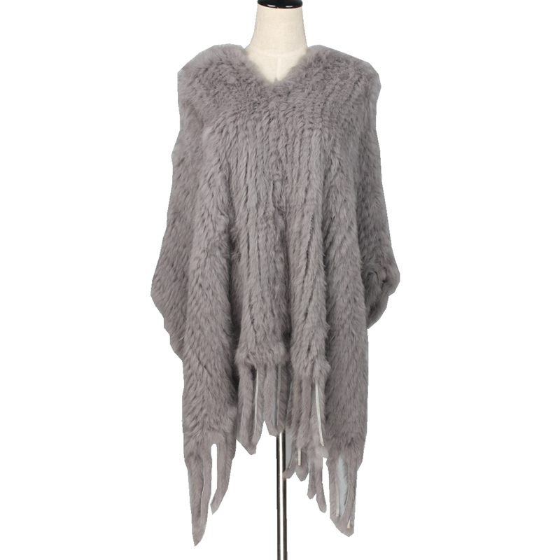 TopFurMall Lady Real Knitted Rabbit Fur Poncho with Tassels Genuine Women Fur Pullover Female Pashmina Wraps LF5016 rabbit print pullover