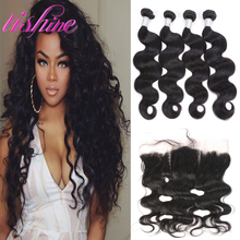 Malaysian Body Wave With Frontal Closure 7A Virgin Human Hair Bundles With Ear To Ear Closure Frontal With Baby Hair 1B