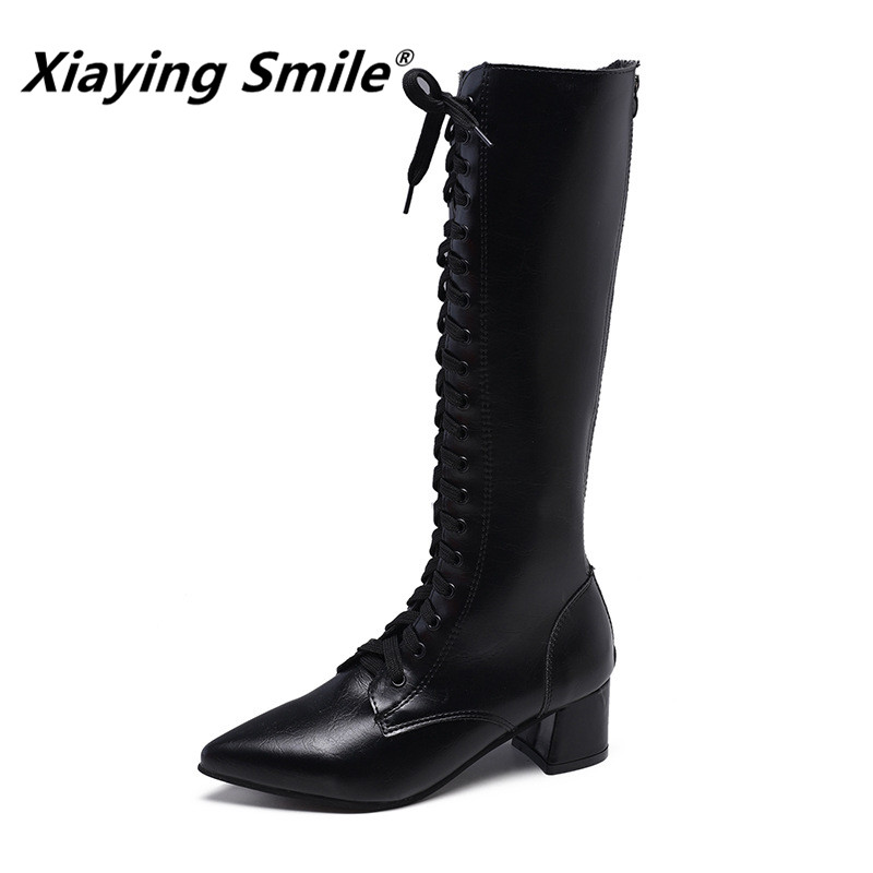 Xiaying Smile New Arrive Women Handsome Boots Special Pointed Toe Knee High Cross tied Female Shoes