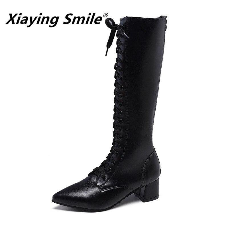 Xiaying Sorriso Chegam Novas Mulheres Botas Bonito Especial Pontas Do Dedo Do Pé Do Joelho-Alta Cross-amarrado Sapatos Femininos Confortáveis Polares booes