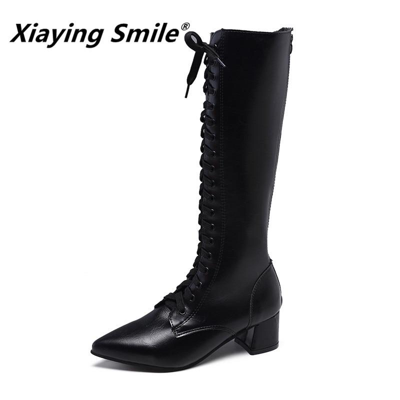 Xiaying uśmiech nowy przyjeżdża kobiet przystojny buty specjalne wskazał Toe kolana wysokie wiązane na krzyż buty damskie wygodne podszewki polarowe Booes w Kozaki do kolan od Buty na  Grupa 1