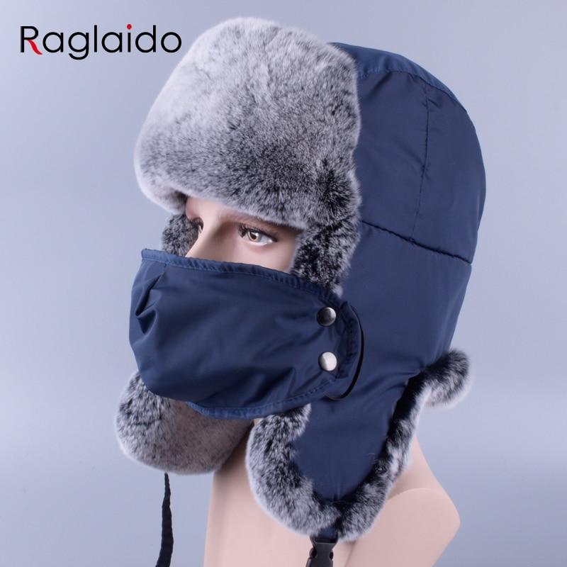 a9d0d37653d Detail Feedback Questions about Raglaido winter hats for men fur cap  natural rex rabbit fur Ushanka Snow hat aviator s cap with earflap 56 59cm  LQ11249 on ...