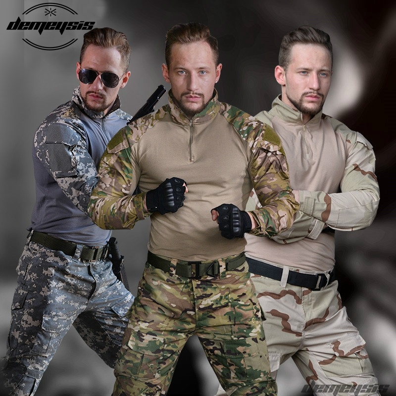 Airsoft Tactical Uniform Combat Shirt Pants with Elbow Knee Pads Military Hunting Clothes Multicam ACU Desert Camouflage a tacs tactical combat uniform gen3 shirt pants military army pants with knee pads size s xxl acu multicam woodland digi camo