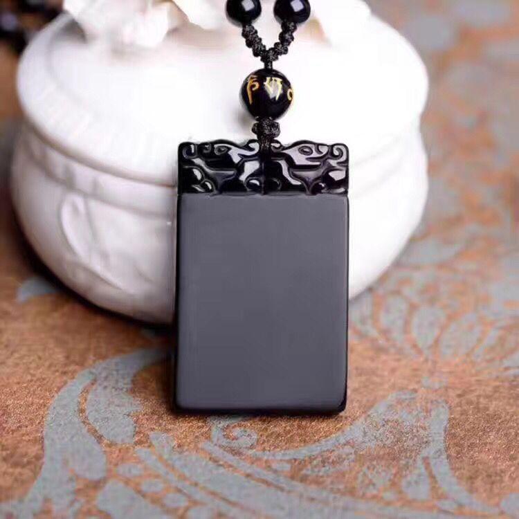 Pendentif de sécurité tête de Dragon sculpté obsidienne noire naturelle + collier en corde