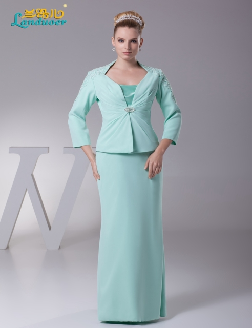 1e4fe2451c702 Mint green Chiffon Mother of the Bride Dress 2017 with jacket Long sleeve  Evening Gown Vestidos para mae da noiva plus size