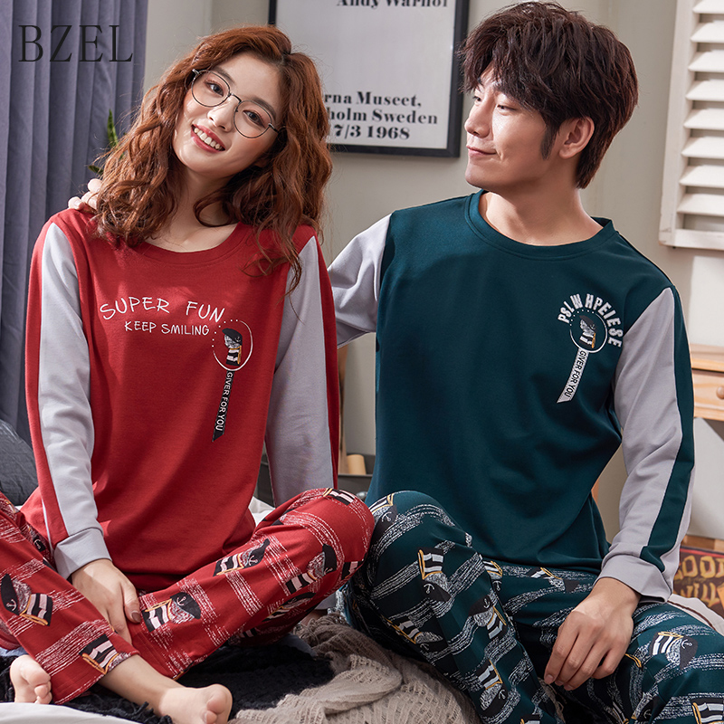 BZEL Pajamas 2019 Cotton Long-sleeved Men And Women Pajama Cartoon Round Neck Couple Home Suit Sleepwear Casual Home Cloth M-3XL